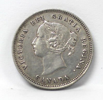 1884 Canada - 5 Cents Silver Km-2 Victoria Near 4 Pointed 4 - VF #01264187g
