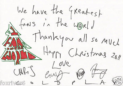 COLDPLAY Signed Note - Pop / Rock Star Band - preprint