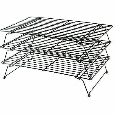 3 Tier Stackable Cooling Baking Cake Biscuit Tray Rack Space Saving Cake Stand