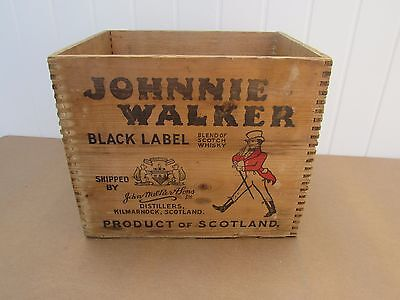 VINTAGE Scotch Crate JOHNNY WALKER BLACK CRATE  Boston Providence GREAT MARKINGS
