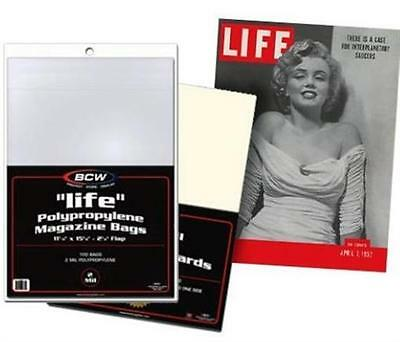 BCW (100) Life Magazine Size Protective Bags Acid Free Archival 2 mil Poly