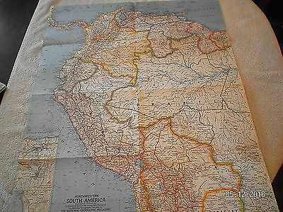 1964 Vintage Map Of North West South America National Geographic
