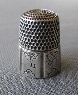 ANTIQUE 19th Century SIMONS Sterling Silver #11 THIMBLE