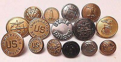 15 Assorted Para-Military Organizational Uniform Buttons (B140)