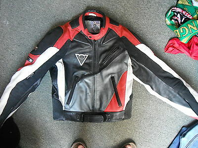 Rev'it! Size 52 Mens Black Red Grey & White Leather Motorbike Jacket