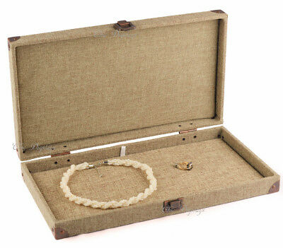 BURLAP SOLID TOP BOX WOODEN CASE JEWELRY BOX DISPLAY CASE w/ FLAT LINER SHOWCASE