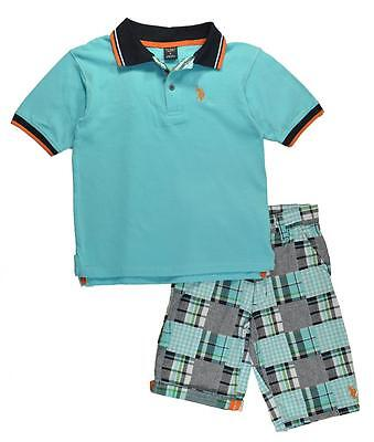 US Polo Assn Boys Light Blue Polo 2pc Short Set Size 4 5 6 $40