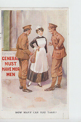 Nurse with Soldiers, Military comic postcard