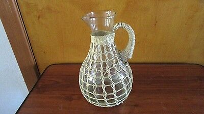 glass pitcher 8 inch with twine weave
