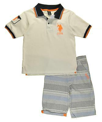 US Polo Assn Boys White Polo 2pc Short Set Size 4 5 6 7 $40