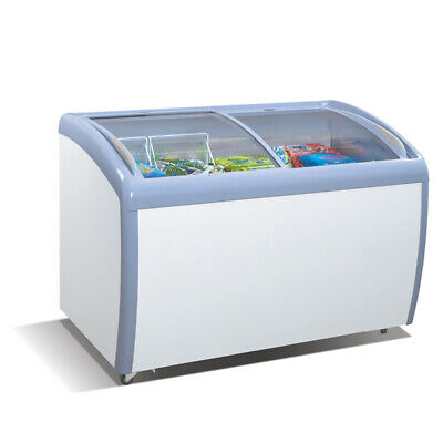 "12 Cubic feet 4 foot wide 49.5"" Ice Cream Curved Glass Chest Freezer Self Serve"