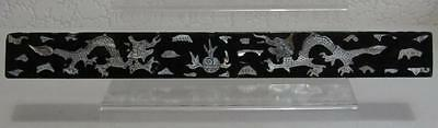 Antique Chinese Scroll Weight- Black Laquer with Mother of Pearl Inlay