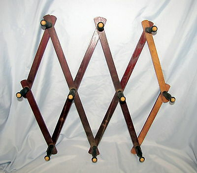 Antique Victorian Wood Expandable Accordion Hat Rack Wall Hanger