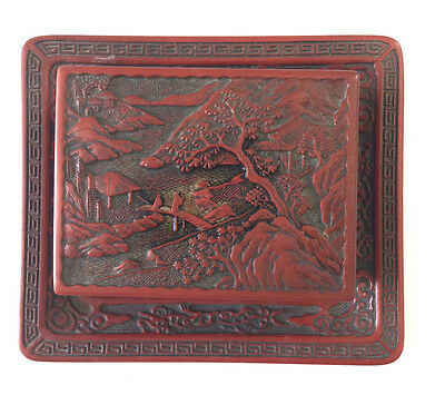 Antique Chinese Red Lacquer Box And Tray