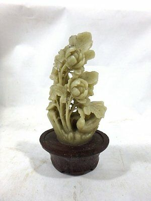 Antique Hand Carved Chinese Japanese  Asian ? Soapstone Flowers