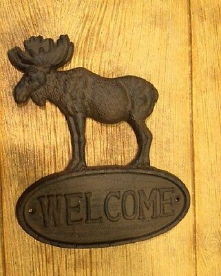 "Cast Iron Sign ""Welcome"" Moose 9 1/2"" wide Home Decor 0170S-08446"