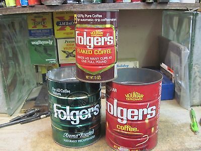 FOLGERS  coffee can 2 LB Folger's LOT OF 3 tin store vintage