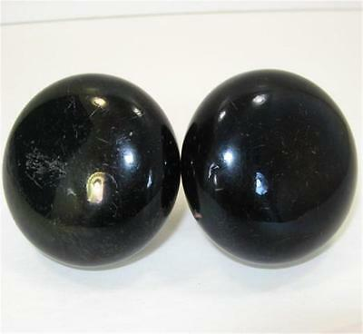 2 Antique Black Porcelain Door Knobs Handles