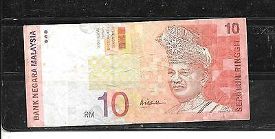 MALAYSIA #42a 1997 VG CIRC 10 RINGGIT BANKNOTE PAPER MONEY CURRENCY BILL NOTE