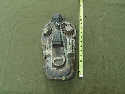 Original Vintage Hand Carved Wood Tribal Art Painted Wood African Mask Sculpture