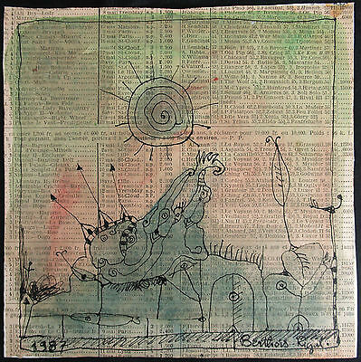 BERNARD BERTHOIS-RIGAL Original Mixed Media Painting, Signed 1987