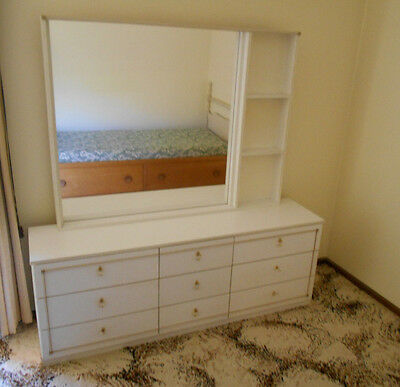 Mirror Dressing Table  With 9 Drawers White + Gold Trim
