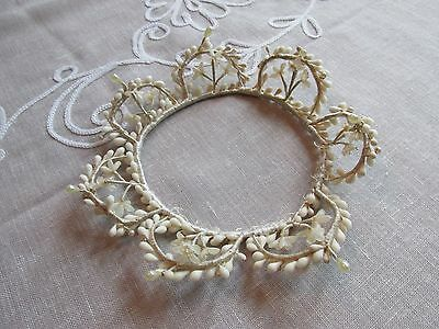 Antique Wedding Veil Headpiece Victorian Waxed & Pearl Bridal Crown Beautiful