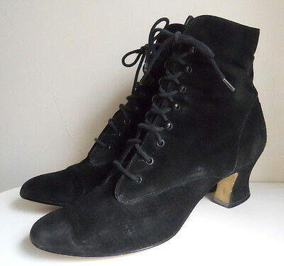 Victorian Revival Black SUEDE Leather Lace-Up HIGH HEEL Boots Vintage SHOES AsIs
