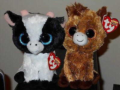 "Ty Beanie Boos 6"" Set of 2 ~ BUTTER (Cow) & HARRIET (Horse) ~ NEW 2017 IN HAND"