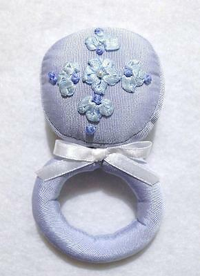 "BLUE FABRIC BABY RATTLE W/FLORAL RIBBON WORK & PEARL BEAD~4/12""~baby shower gift"
