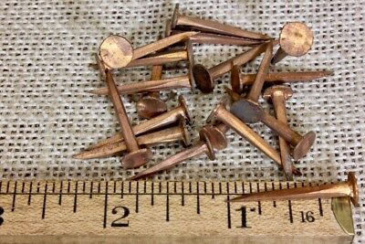 "20 old COPPER TACKS 1"" nails vintage sharp point 5/16"" round flat head solid"