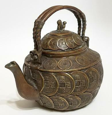 CHINESE BRONZE WEALTH 1000 COIN MONEY LION FOO DOG TOP TEAPOT WINE POT Dbl Hndle