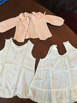 Vintage Hand Crochet Pink Baby Sweater and 2 Handmade Pinafores