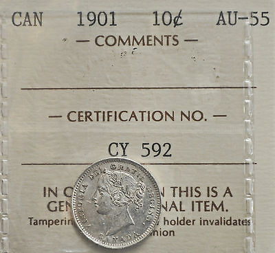 1901 Canada 10 cents ICCS graded AU-55