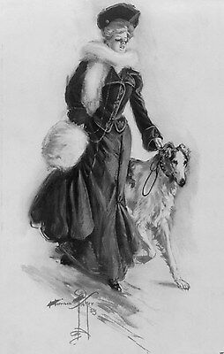 Vintage 1906 Borzoi Russian Wolfhound Poster Harrison Fisher Drawing Print 1267