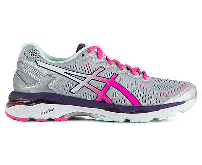 ASICS Women's GEL-Kayano 23 Shoe - Silver/Pink Glow/Parachute Purple