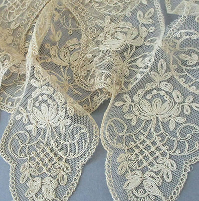 3 Vintage Ecru French TAMBOUR LACE Collar Trims ~ FLOWERS Lattice * Old Stock