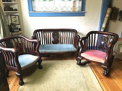 Antique Empire Loveseat and Chair~Carved~RARE!