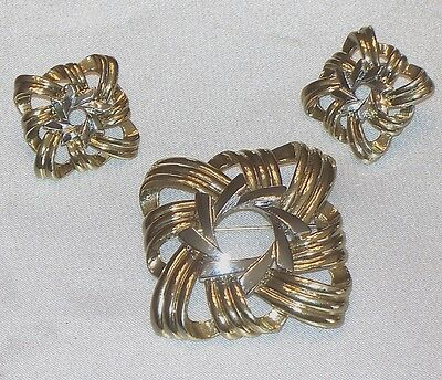 Art Moderne Gold Tone & Silver Tone  Brooch & Earrings  B722