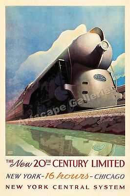 1938 New 20th Century Limited Vintage Style Travel Poster - 24x36