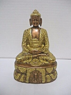 "Sitting Buddha Statue - Copper/Brass - 7"" Impressive"