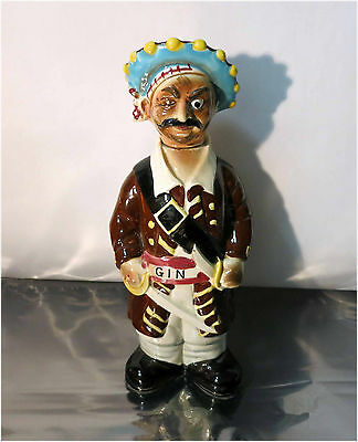 """Vintage 60's Fred Roberts Co., GIN, Porcelain Pirate Liquor Decanter, 12.5"""" tall"""