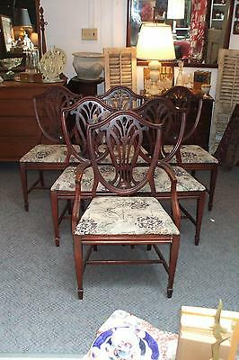 6 Mahogany Shield Back Dining Chairs Vintage Antique Set Chippendale 5 Side 1 Ca