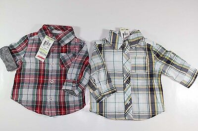 Boys 2pc First Impressions Checkers Long White Sleeve Shirt 3-6 months NEW