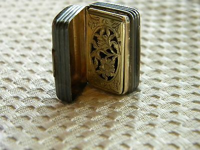 Early 1843 Sterling Silver and Vermeil Vinaigrette, Box Shaped chased.Hallmarks
