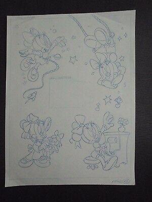 MINNIES HOMEWORK Original Production Book Art Drawing Walt Disney MINNIE MOUSE