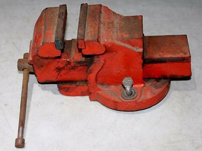 Vintage RED Industrial Cast Iron 90mm BENCH TOP VICE