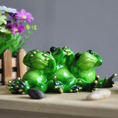 "Novelty Cute Frog Figurines--""Brothers Green Resin Frog""Desk Decor Sculpture 017"