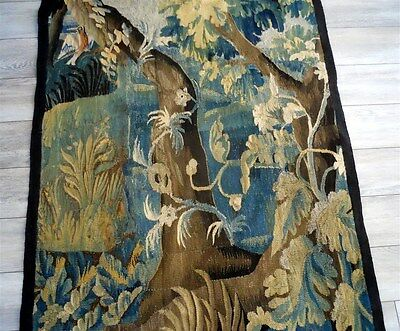 Aubusson French antique tapestry 17th-century verdure with bird