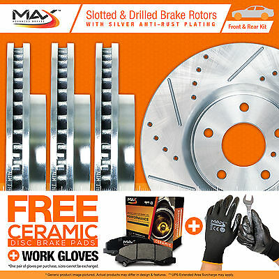 [FRONT+REAR KIT] [SILVER ZINC] Slotted Drilled Brake Rotors AND Max Ceramic Pads